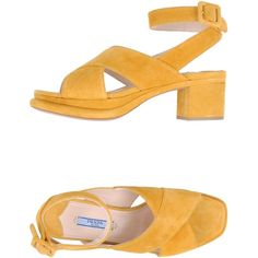 Prada Platform Sandals (16.440 RUB) ❤ liked on Polyvore featuring shoes, sandals, heels, yellow, platform heel sandals, leather sandals, buckle sandals, yellow sandals and yellow heeled sandals