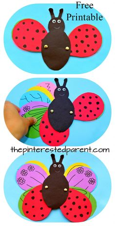 Transform a ladybug into a butterfly using a free printable template. Design the wings and transform in this fun kid's craft. Construction paper Arts and crafts for preschoolers and kids. Summer and spring insect kids crafts