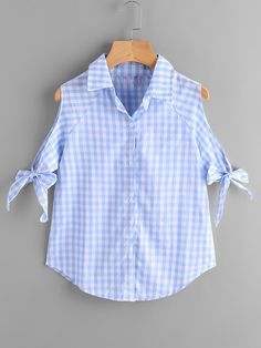 SheIn offers Gingham Open Shoulder Tie Cuff Blouse & more to fit your fashionable needs. Casual Fall Outfits, Stylish Outfits, Cute Outfits, Girls Fashion Clothes, Fashion Outfits, Clothes For Women, Dresses Kids Girl, Girl Outfits, Fancy Tops