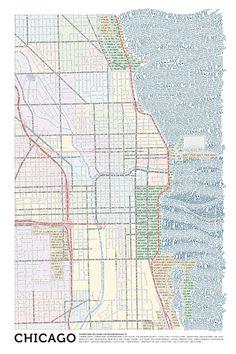 Typographic maps of Chicago and Boston by Axis Maps LLC (via brainpicker http://twitter.com/brainpicker/status/26000657608)