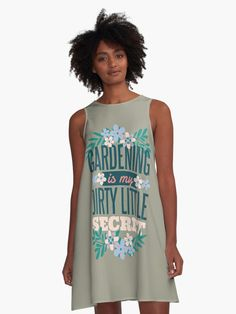 Gardening is my Dirty Little Secret for the Crazy Plant Lady.  Tell the world your dirty little secret.  A perfect gift for the gardener - young or old.  An excellent idea as a retirement gift for the gardener that you love.  A funny and cute design for the crazy plant lady or serious gardener.  #gardening #greenfingers #gardening #flowers #giftideas #fashion #onlineshopping #artsandcrafts #redbubble #art #redbubbleshop #findyourthing @redbubble @giftsbyminuet Retirement Gifts, Cute Designs, Chiffon Tops, Tank Man, The Secret, Classic T Shirts, Gardening, Tank Tops, Unique