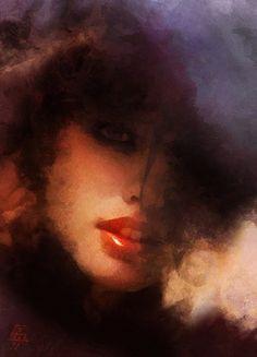 Artist: Tzviatko Kinchev (Bulgarian, b. 1980), oil, 2011 {figurative #impressionist art beautiful female head texture woman face portrait painting #loveart}