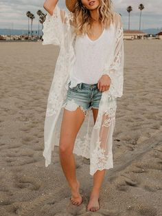 Fashion Solid Color Beach Cover-up