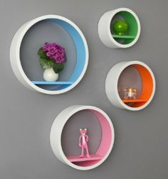 Set of 4 Lounge Regal Retro 70s circles Circles Around shelving cube wall shelf White NEW: Amazon.de: Kitchen & Home
