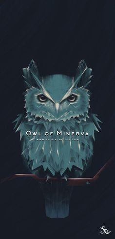 Owl of Minerva, Sylvia Ritter Minerva Goddess, Minerva Owl, Goddess Art, Nocturne, Owl Wallpaper, Owl Illustration, Traditional Artwork, Owl Art, Watercolor Texture