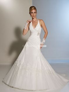A-line Taffeta Halter pleated with Brooch Wedding Dress