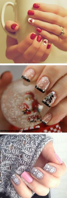 36 Sparkling Nail Designs for Christmas Party - nails - Xmas Nails, Holiday Nails, Fun Nails, Snow Nails, Xmas Nail Art, Valentine Nails, Valentines Art, Winter Nails, Spring Nails