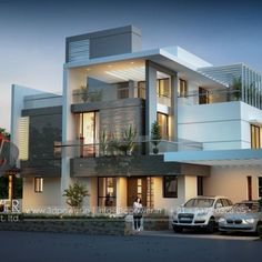 Architecture Discover Ultra modern Bungalow exterior day rendering and elevation design by Power Modern Bungalow Exterior, Modern Exterior House Designs, Modern Architecture House, Modern House Design, Exterior Design, Exterior Rendering, 3 Storey House Design, House Front Design, Design Living Room