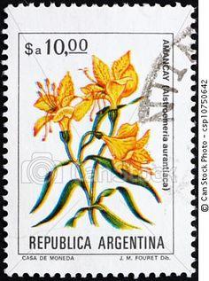 Argentina, -, hacia, 1983:, estampilla, impreso, Argentina, exposiciones, peruano, Lirio, Alstroemeria, Aurantiaca.