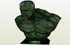 Hulk Bust Paper Model - by Paper Juke - Busto do Hulk -- A cool Hulk Bust paper model, by French designer Paper Juke. A nice collectible for all Avengers fans.