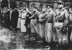 High-ranking Arrow Cross Party members with Nazi officers. Budapest, Hungary, fall 1944.  — Magyar Nemzeti Muzeum Torteneti Fenykeptar