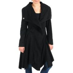 Black Wool Styled A-line Flowing Trench Coat $42 WANT
