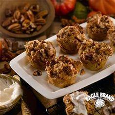 Petite Pumpkin Bread Puddings with Vanilla Cream Sauce from Eagle Brand®