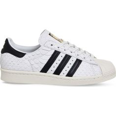 big sale 645c1 1270e Adidas Superstar 80s scales-effect leather trainers (110) ❤ liked on  Polyvore featuring