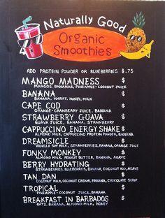 Chalkboard sign - organic smoothies - Juice bar for beginners juice Organic Smoothies, Healthy Smoothies, Smoothie Recipes, Juice Recipes, Organic Juice Bar, Smoothie Bar, Smoothie Names, Cafe Menu, Cafe Food
