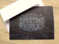 Chalkboard Christmas Cards Set by PapergirlStudios on Etsy https://www.etsy.com/listing/246044623/chalkboard-christmas-cards-set