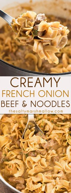 Creamy French Onion Beef and Noodles is easy to make, ready in 25 minutes or less right on your stove top! The ultimate quick comfort food for an amazing weeknight dinner. comfort food Creamy French Onion Beef and Noodles Beef Dishes, Pasta Dishes, Food Dishes, Egg Noodle Dishes, Food Platters, Beef Bourguignon, Beef Stroganoff, Beef Recipes For Dinner, French Recipes Dinner