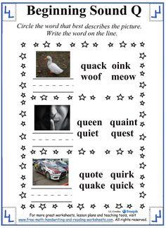 beginning sound letter q worksheets