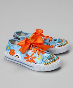 Take a look at this Bubblegum Diva Light Blue Flower Power Bling Canvas Sneaker on zulily today!