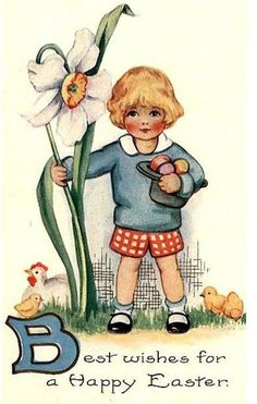 vintage Easter postcard boy with flower Easter Greeting Cards, Vintage Greeting Cards, Vintage Postcards, Vintage Images, Easter Art, Easter Crafts, Fete Pascal, Somebunny Loves You, Easter Illustration
