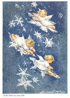 AK Neujahr - ERICA v. KAGER - Kleine Engel auf Schneeflocken, 1970 | Sammeln & Seltenes, Ansichtskarten, Motive | eBay!