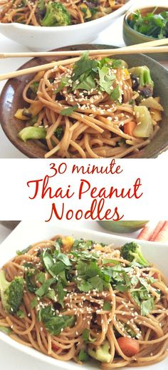 30 minute Thai Peanut Noodles! I love this healthy recipe, and it's so easy!