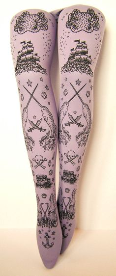 Pirate Printed Tights Small Medium Black Pearl on Lavender Women Octopus Narwhal Squid Sailor Tattoo