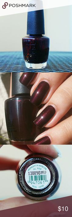 *One Day Sale OPI Midnight in Moscow Full bottle, used once. Pretty brown polish with duo chrome of dark red. Ships in 1-3 days. Remember to bundle to save! OPI Makeup