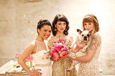 Mia Headband by Jennifer Behr :: Gold + Pink Wedding Inspiration :: hair :: braid :: bride :: bridesmaid :: style