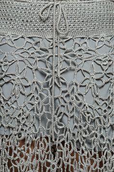 Saia Longa Crochet Velvet Prata - Vanessa Montoro - vanessamontoro