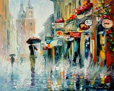 Summer downpour 2 — palette knife modern art oil painting on canvas by leonid afremov - Modern Art, Art Painting, Art Painting Oil, Oil Painting Landscape, Oil Painting On Canvas, Painting, Scenery Paintings, Art, Canvas Painting