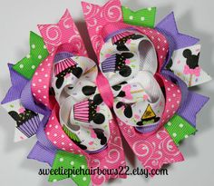 Minnie Mouse Birthday Hairbow Deluxe by sweetiepiehairbows22, $8.99