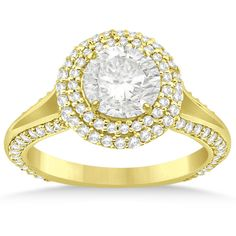 Allurez Double Halo Diamond Engagement Ring Setting 18k Yellow Gold... ($2,880) ❤ liked on Polyvore featuring jewelry, rings, yellow gold, yellow gold diamond rings, gold ring, gold band ring, round cut engagement rings and round diamond ring