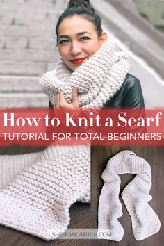 knitting tutorial Learn how to knit a scarf for beginners through a step-by-step video tutorial. This beginner knitting tutorial will teach you the three basic steps to get you knitting in no time. This easy scarf pattern is within reach! Casting Off Knitting, Knitting Terms, Beginner Knitting Projects, Knitting Basics, Free Knitting, Start Knitting, Knitting Beginners, Beginner Knit Scarf, How To Crochet For Beginners