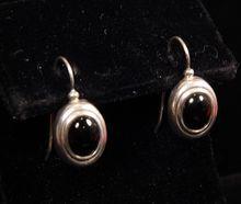 Sterling Silver Oval Onyx Earrings