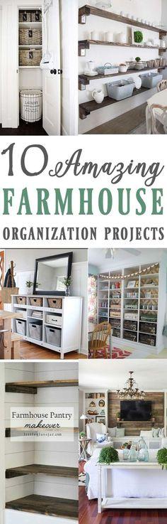 10 Amazing Farmhouse inspired organization and storage ideas ! 10 inspirational…
