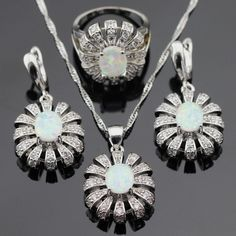 Ashley Australia White Opal Silver Color Jewelry Sets For Women Christmas Necklace Pendant Earrings Rings Gift Box