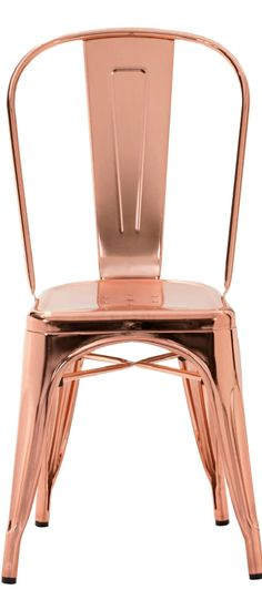 Industrial Style Metal Dining Chairs (Set of - Rose Gold - ZM Home, Pink Rose Gold Rooms, Rose Gold Decor, Rose Gold Interior, Metal Dining Chairs, Dining Chair Set, Copper Chairs, Gold Chairs, Dining Room, Kitchen Dining