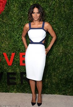 White hot: Later that evening, Halle debuted her shorter bob and white cut-out dress at th...