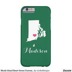 Rhode Island Heart Green Custom Monogram Barely There iPhone 6 Case