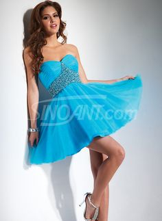 Exquisite Ball Gown Scoop Neckline Mini Beadings Tulle Graduation Dress/Homecoming dress