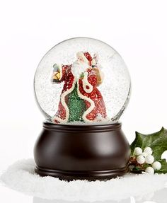 Holiday Lane Musical Snow Globes | Holiday Lane Snow Globe, Musical Santa