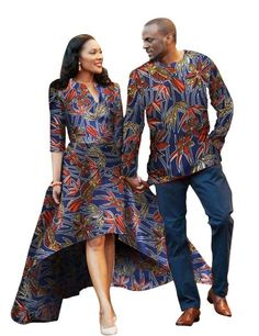 Men and Women African Traditional Clothes, Fashion Dress and Shirt, Various Colors Gender: Women & WomenSilhouette: A-LineSleeve Length: Three QuarterStyle: