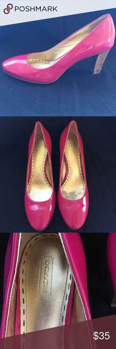 COACH pink patent leather pumps Style Sheri Sz 9.5 Super cute hot pink Coach patent pumps with Coach signature on heels. Sz 9.5b.  See pics for wood heels color variance Coach Shoes Heels