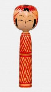 Togatta kokeshi dolls with mokume pattern by Oomori Kyuichi