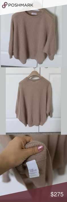 """Brunello Cucinelli sweater size s Nude Brunello Cucinelli oversize sweater with crew neck, dolman sleeves and rib-knit throughout. Bust: 42"""" Waist: 48"""" Length: 22.5"""" Fabric: 47% Polyamide, 37% Mohair, 16% Wool Brunello Cucinelli Tops"""
