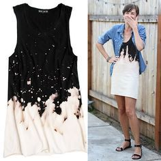 DIY Easy Beach Splattered Dress Tutorial from julie ann art here. Left Photo: $95 Mary Meyer Bleach Dress here, Right Photo: DIY from julie ann art. *For tons more tutorials on dyeing/bleaching fabric go here: truebluemeandyou.tumblr.com/tagged/dye