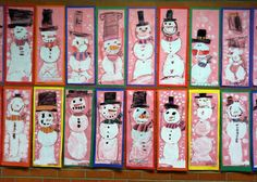 ART with Mrs. A: Kindergarten Snowmen mixed media - crayon and tempera - also A/B patterns on their scarves