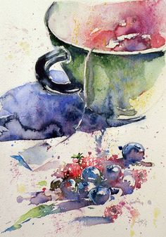 ARTFINDER: Tea time by Kovács Anna Brigitta - Original watercolour painting on high quality watercolour paper. I love landscapes, still life, nature and wildlife, lights and shadows, colorful sight. Thes...