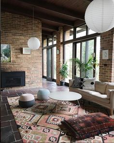 a plant-filled mid century home. / sfgirlbybay brick walls in light-filled mid-century modern home. Home Design, Modern House Design, Modern Interior Design, Modern Houses, Classic Interior, Interior Ideas, Interior Decorating, Decorating Ideas, Mid Century Living Room